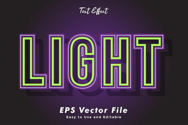 Efekt tekstowy neon light edytowalny i łatwy w użyciu efekt typografii