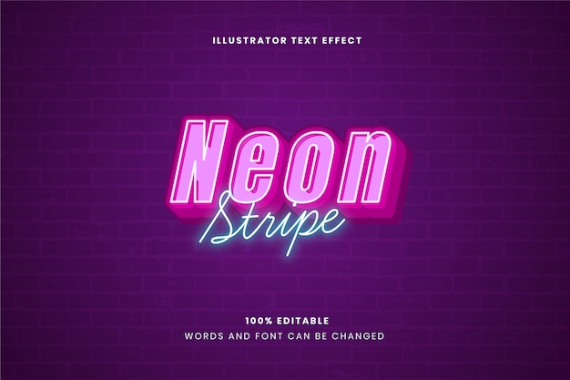 Efekt tekstowy neon stripe