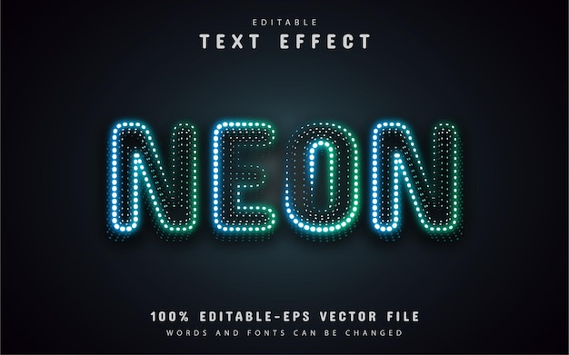 Efekt tekstowy niebieskie zielone kropki neonowe