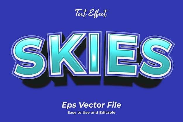 Efekt tekstowy niebo edytowalny i łatwy w użyciu wektor premium