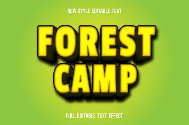 Efekt tekstowy obóz leśny kolor żółty i zielony gradient