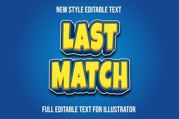 Efekt tekstowy ostatni mecz kolor żółty i niebieski gradient