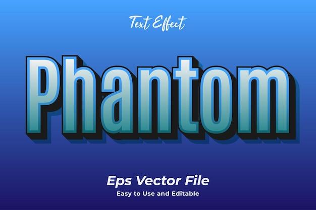 Efekt tekstowy phantom edytowalny i łatwy w użyciu wektor premium