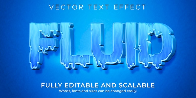 Efekt tekstowy płynnej wody, edytowalny niebieski i płynny styl tekstu
