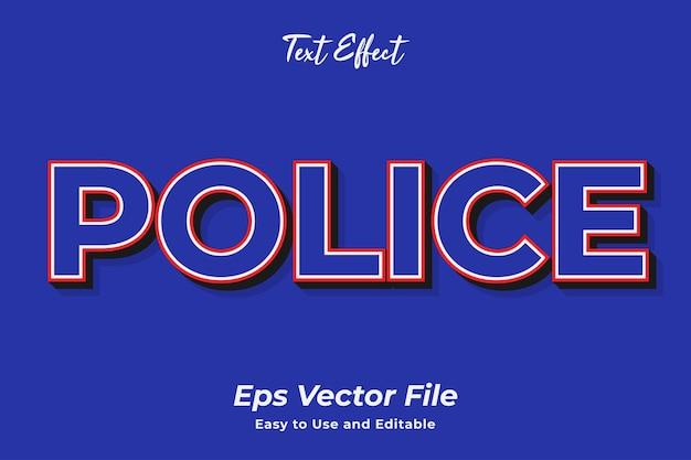 Efekt tekstowy policja łatwy w użyciu i edytowalny wektor premium