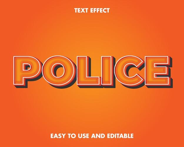Efekt tekstowy policji. edytowalny efekt tekstowy i łatwy w użyciu. ilustracja wektorowa premium