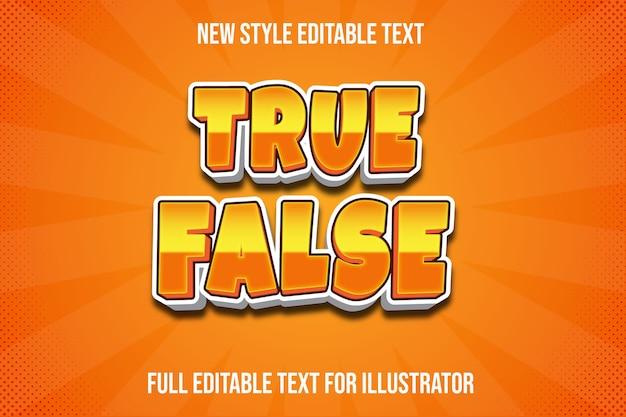 Efekt tekstowy prawdziwy fałszywy kolor pomarańczowy i biały gradient