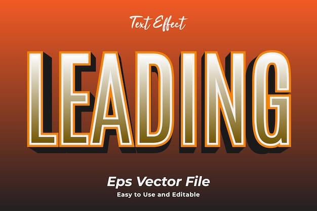 Efekt tekstowy prowadzący łatwy w użyciu i edytowalny wektor premium