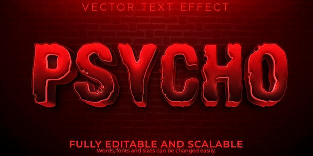 Efekt tekstowy psycho horror, edytowalny straszny i czerwony styl tekstu