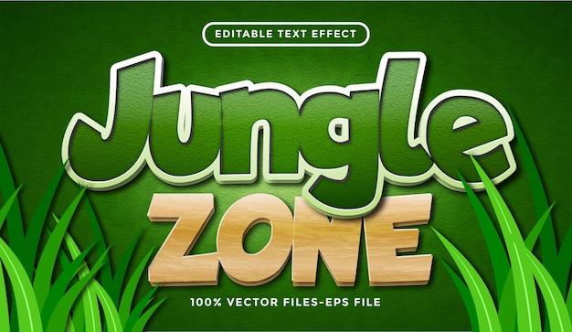 Efekt tekstowy strefy dżungli, edytowalny styl tekstu kreskówki i lasu premium wektorów