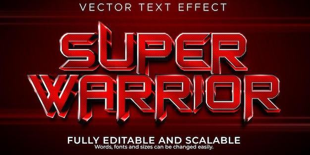 Efekt tekstowy super wojownika edytowalny czerwony i metaliczny styl tekstu