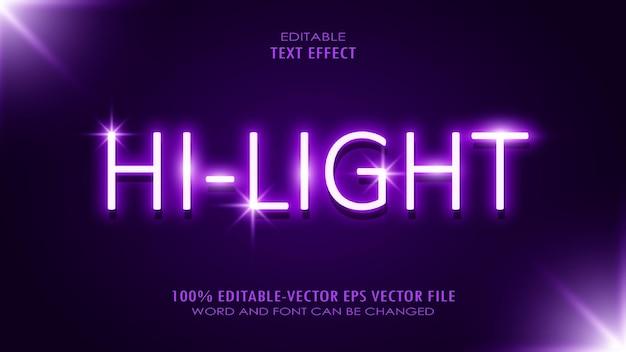 Efekt tekstowy światła neonowego. edytowalny tekst