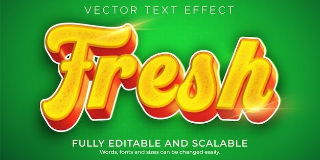 Efekt tekstowy świeżej żywności, zielony organiczny styl tekstu