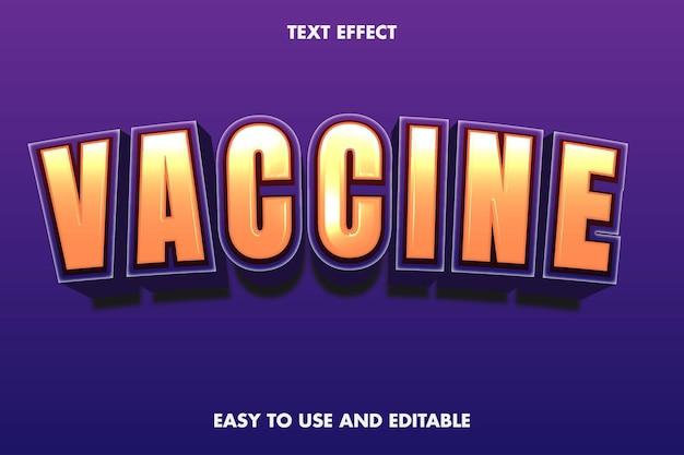 Efekt tekstowy szczepionki. edytowalna czcionka.
