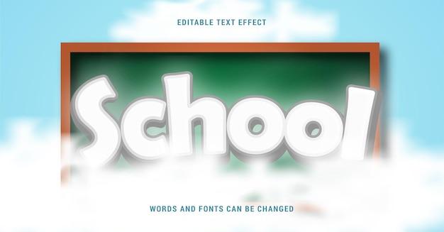 Efekt tekstowy szkoły z tablicą i chmurami edytowalny eps cc