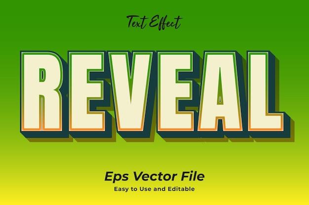 Efekt tekstowy ujawnia edytowalny i łatwy w użyciu wektor premium