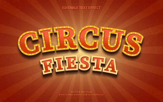 Efekt tekstowy vintage circus fiesta na tle retro burst