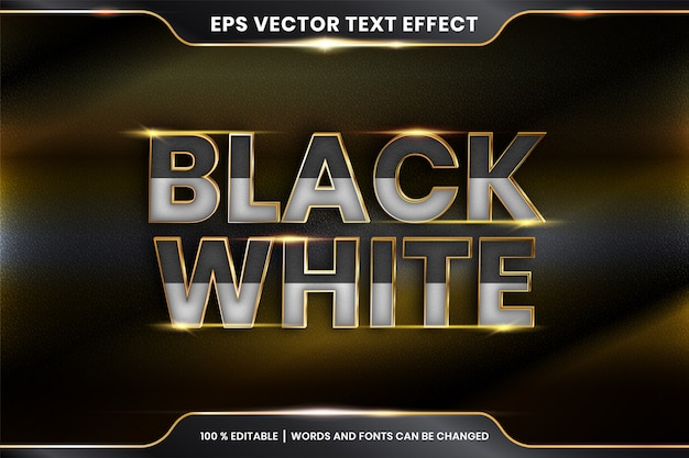 Efekt tekstowy w 3d czarno białe słowa efekt tekstowy motyw edytowalny metalowy złoty kolor