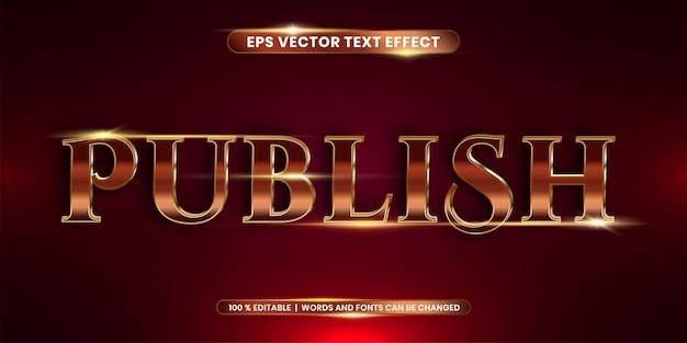 Efekt tekstowy w 3d publikuj słowa efekt tekstowy tematu edytowalny metalowy czerwony kolor złota koncepcja