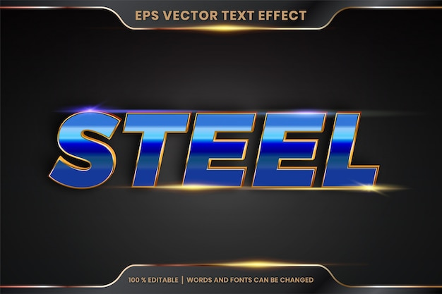 Efekt tekstowy w 3d stalowe słowa efekt tekstowy motyw edytowalny metalowy realistyczny złoty i gradientowy niebieski kolor