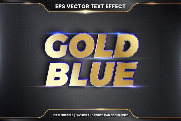 Efekt tekstowy w 3d złoto niebieskie słowa stylów czcionek temat edytowalny metalowy złoty kolor