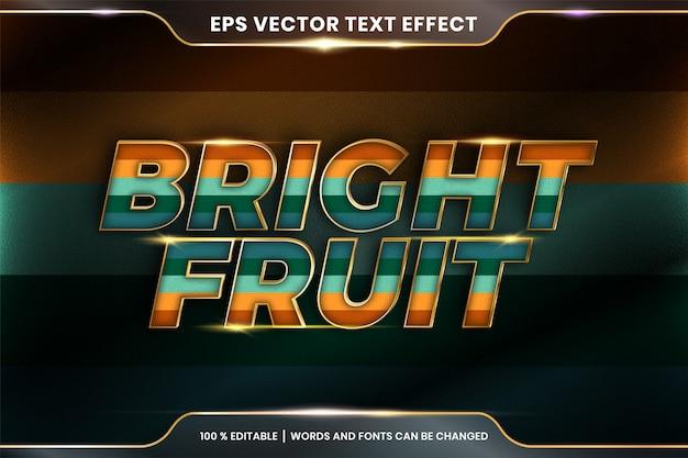 Efekt tekstowy w jasnych owocowych słowach, edytowalny kolorowy pastel z efektem tekstowym z metalową złotą koncepcją koloru
