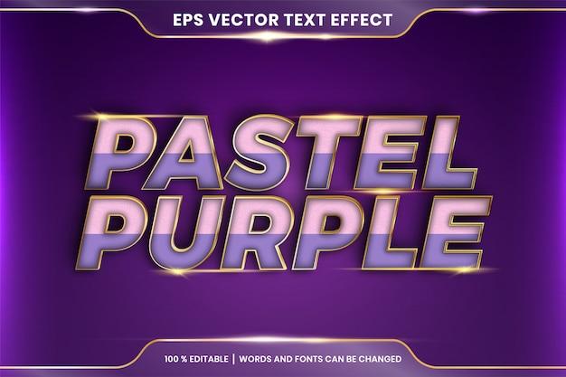 Efekt tekstowy w pastelowych fioletowych słowach, edytowalny kolorowy pastel z efektem tekstowym z metalowym złotym kolorem