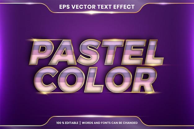 Efekt tekstowy w pastelowych kolorach, edytowalny kolorowy pastel z efektem tekstowym z metalowym złotym kolorem