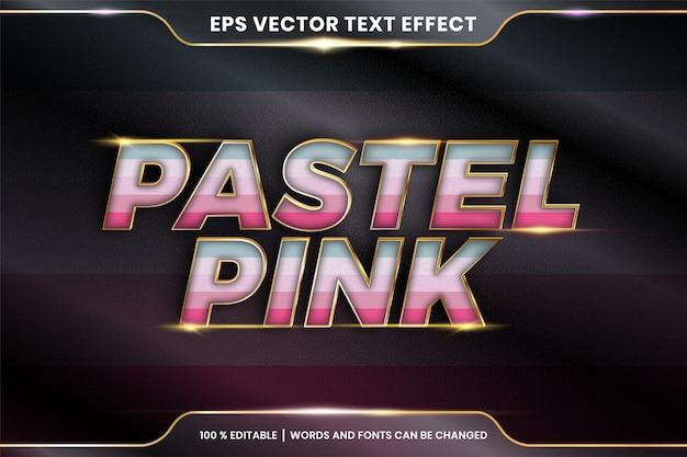 Efekt tekstowy w pastelowych różowych słowach, edytowalny kolorowy pastel z efektem tekstowym z metalową złotą koncepcją koloru