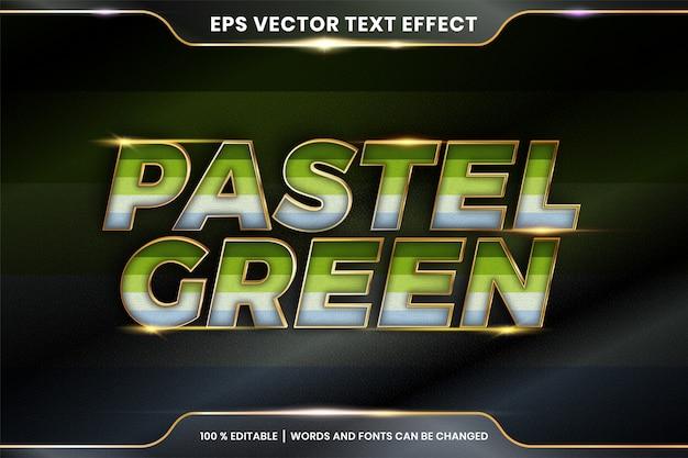 Efekt tekstowy w pastelowych zielonych słowach, edytowalny kolorowy pastel z efektem tekstowym z metalowym złotym kolorem