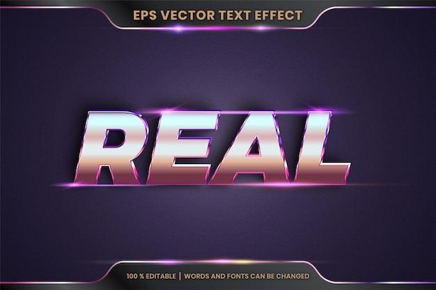 Efekt tekstowy w prawdziwych słowach, style czcionek temat edytowalnej metalowej złotej i fioletowej koncepcji koloru