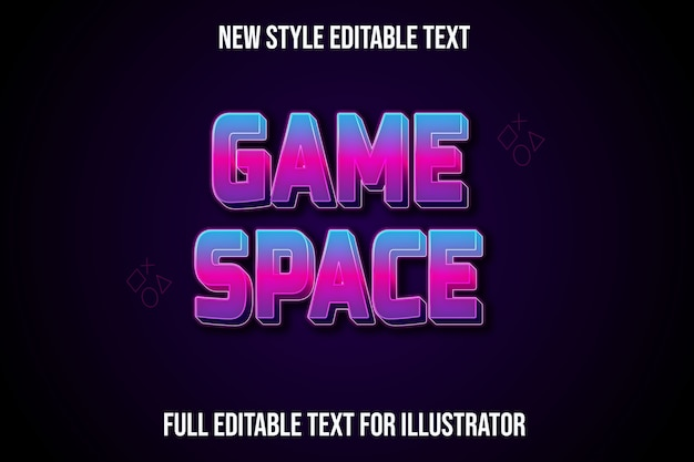 Efekt tekstowy w przestrzeni gry w kolorze niebieskim i różowym gradientem