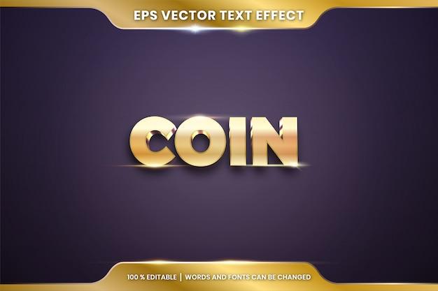 Efekt tekstowy w słowach 3d coin, edytowalna koncepcja efektu tekstowego w kolorze złota metalowego