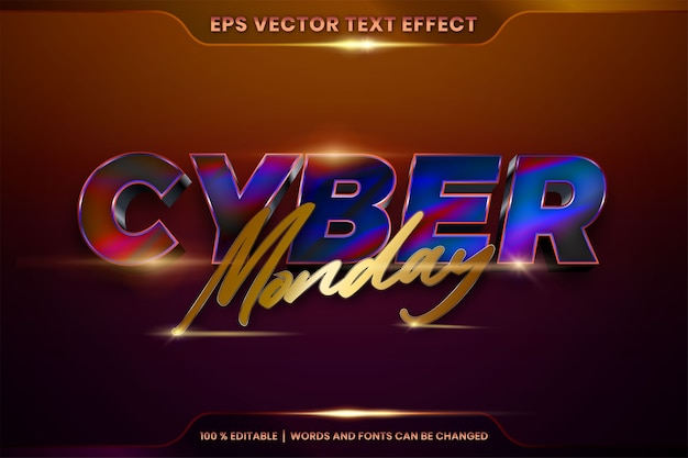Efekt tekstowy w słowach cyber poniedziałek, styl czcionki edytowalny realistyczny metalowy gradient w kolorze złotym i kolorowe połączenie z koncepcją światła pochodni