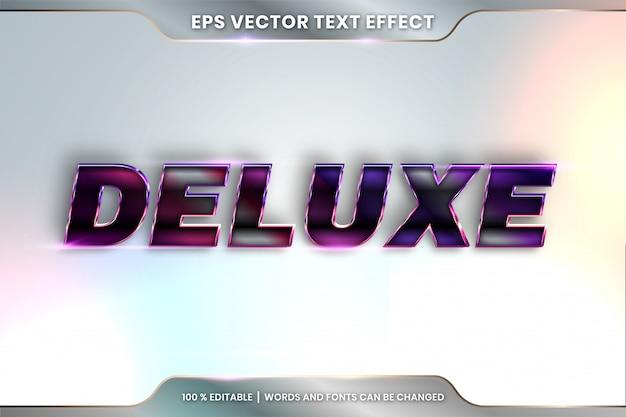 Efekt tekstowy w słowach deluxe, styl czcionki edytowalny metalowy czarny i fioletowy kolor gradientu