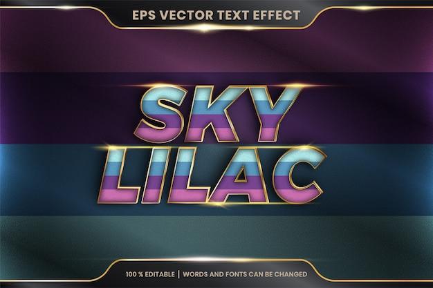 Efekt tekstowy w słowach liliowych nieba, edytowalny kolorowy pastel z efektem tekstowym z koncepcją metalowego złotego koloru