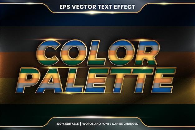 Efekt tekstowy w słowach palety kolorów, edytowalny kolorowy pastel z efektem tekstowym z metalową złotą koncepcją koloru