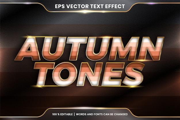 Efekt tekstowy w słowach w odcieniach jesieni, edytowalny kolorowy pastel z efektem tekstowym z metalowym złotym kolorem