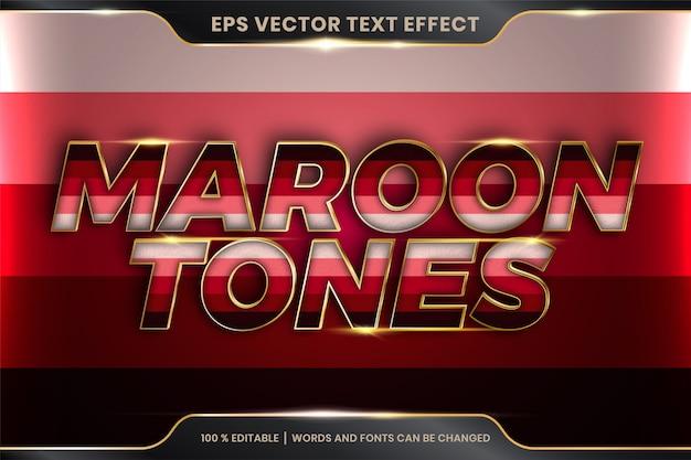 Efekt tekstowy w słowach w tonacji bordowej, edytowalny kolorowy pastel z efektem tekstowym z metalowym złotym kolorem