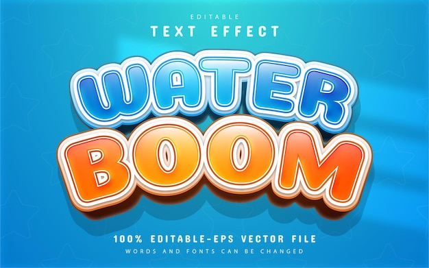 Efekt tekstowy w stylu cartoon boom na wodę