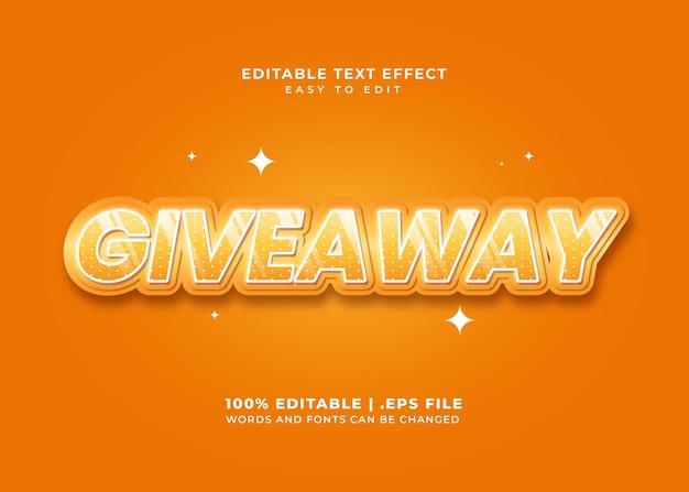 Efekt tekstowy w stylu giveaway w kolorze pomarańczowym