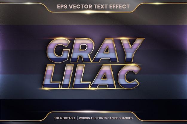 Efekt tekstowy w szaro-liliowych słowach, edytowalny kolorowy pastel z efektem tekstowym z metalowym złotym kolorem