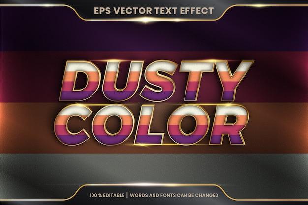 Efekt tekstowy w zakurzonych kolorach, edytowalny kolorowy pastel z efektem tekstowym z metalowym złotym kolorem