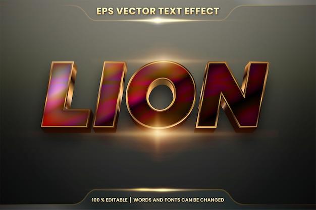 Efekt tekstowy w złotych słowach lion, edytowalny motyw stylów czcionek, realistyczny metalowy gradient w kolorze złota i kolorowe połączenie z koncepcją światła pochodni
