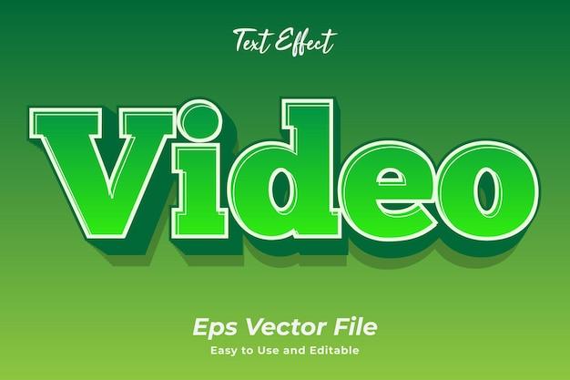 Efekt tekstowy wideo edytowalny i łatwy w użyciu wektor premium