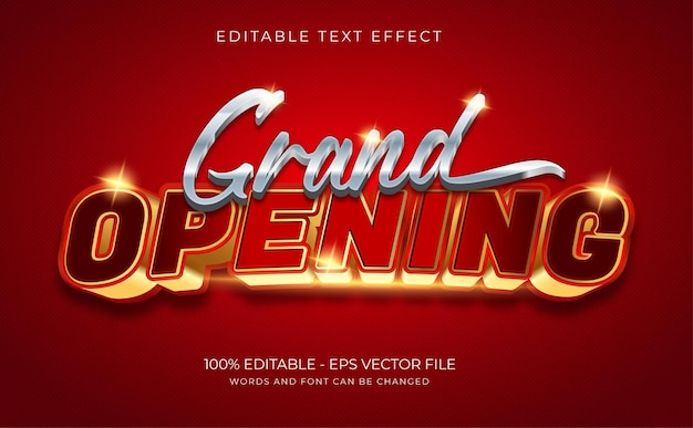 Efekt tekstowy wielkiego otwarcia premium wektor