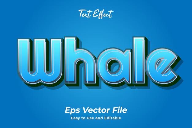 Efekt tekstowy wieloryb edytowalny i łatwy w użyciu wektor premium