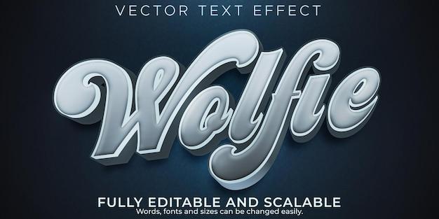 Efekt tekstowy wilka, edytowalny styl tekstu dzikiego i myśliwego