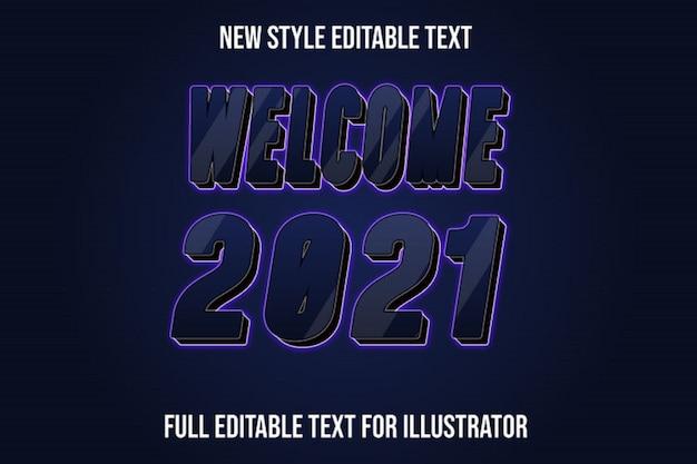 Efekt tekstowy witamy w nowym roku kolor ciemnoniebieski i czarny gradient