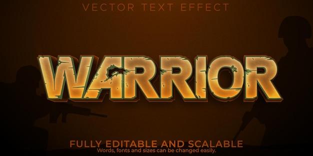 Efekt tekstowy wojownika, edytowalny styl tekstu miecza i żołnierza